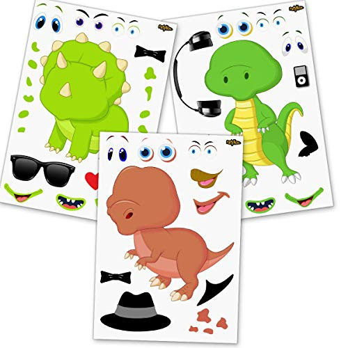 24 Make A Dinosaur Stickers for Kids - Great Dino Theme