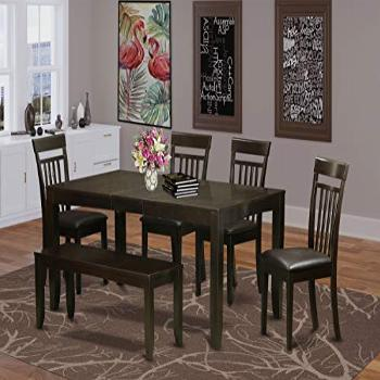6 PC Dining room set with bench-Table with Leaf and 4 Chairs