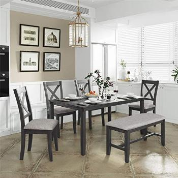 6 Piece Dining Table Set, Wood Dining Dinette Table and 4