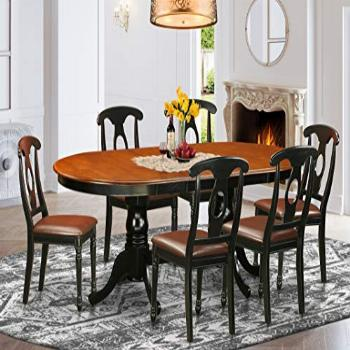 7 Pc Dining room set-Dining Table with 6 Wooden Dining