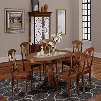 7 Pc Dining room set-Oval Dining Table with Leaf and 6