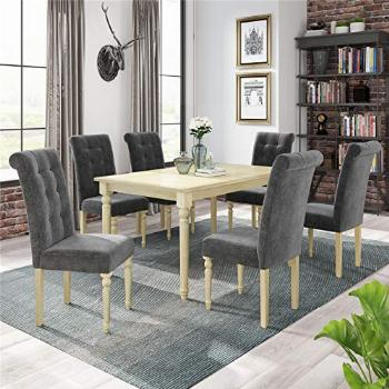 7 Piece Dining Table Set, Wood Rectangular Dining Table and