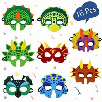 Dinosaur Masks Party Supplies for Kid (16 Packs) Felt and