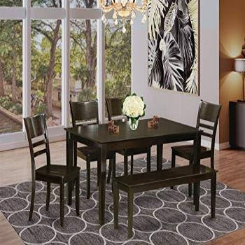 East West Furniture Rectangular Dining Table Set 6 Pc -