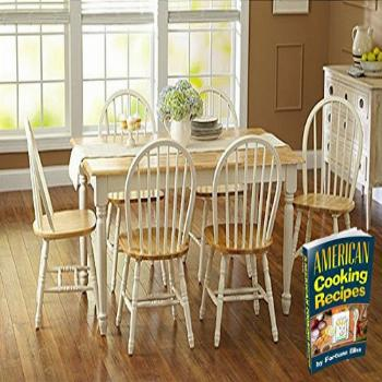 Oak Dining Set a 7 Piece Traditional White and Natural