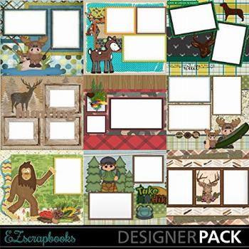 Outdoors Collection 1 - Digital Scrapbooking Quick Pages on