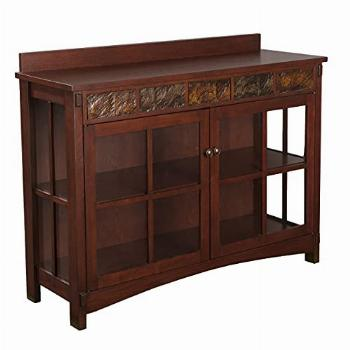 SEI Furniture Camino Mission Sideboard & Curio - Red Washed