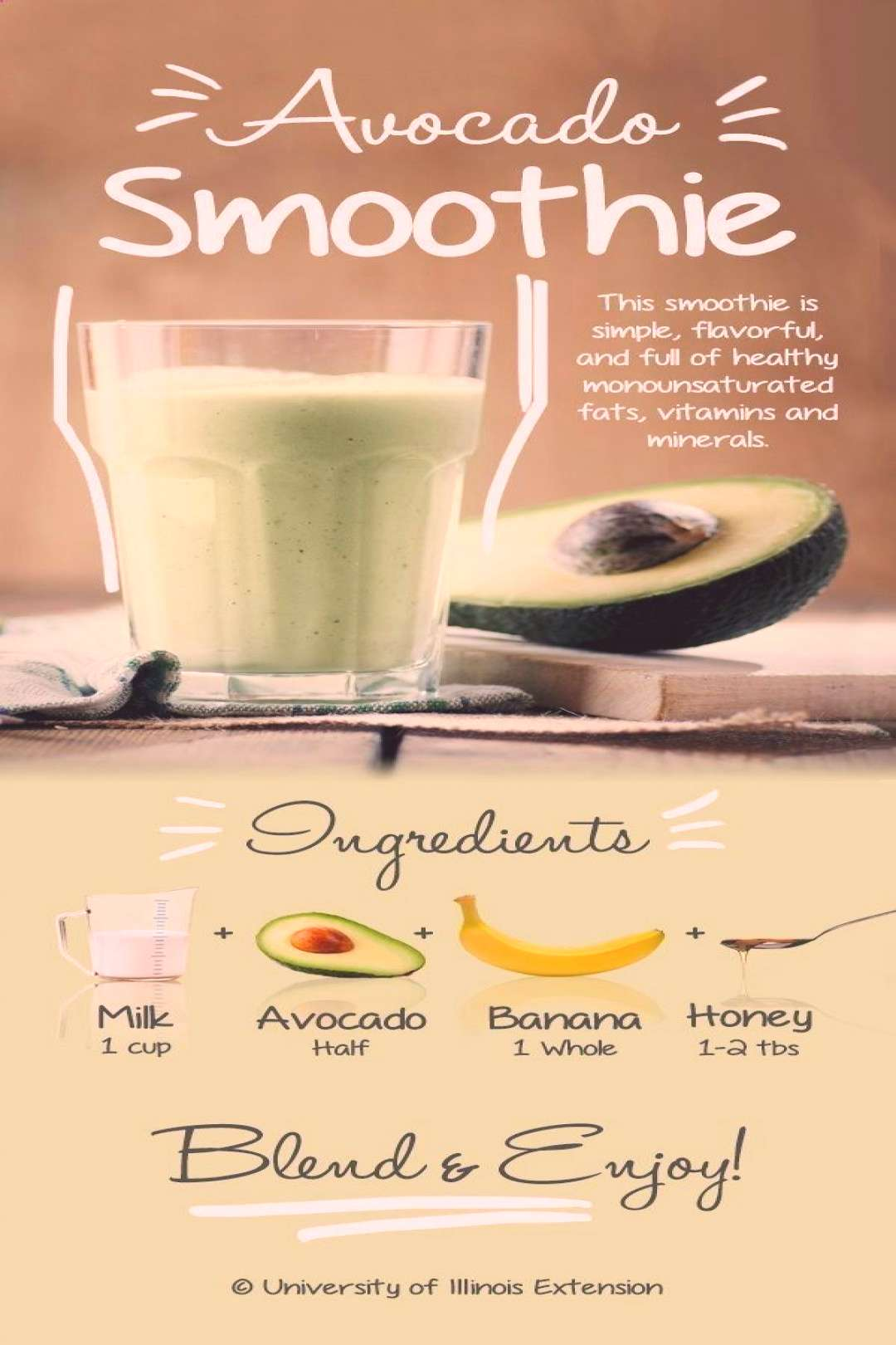 Avocado Smoothie Recipe - Simple, flavorful, and full of healthy monounsaturated fats, vitamins and