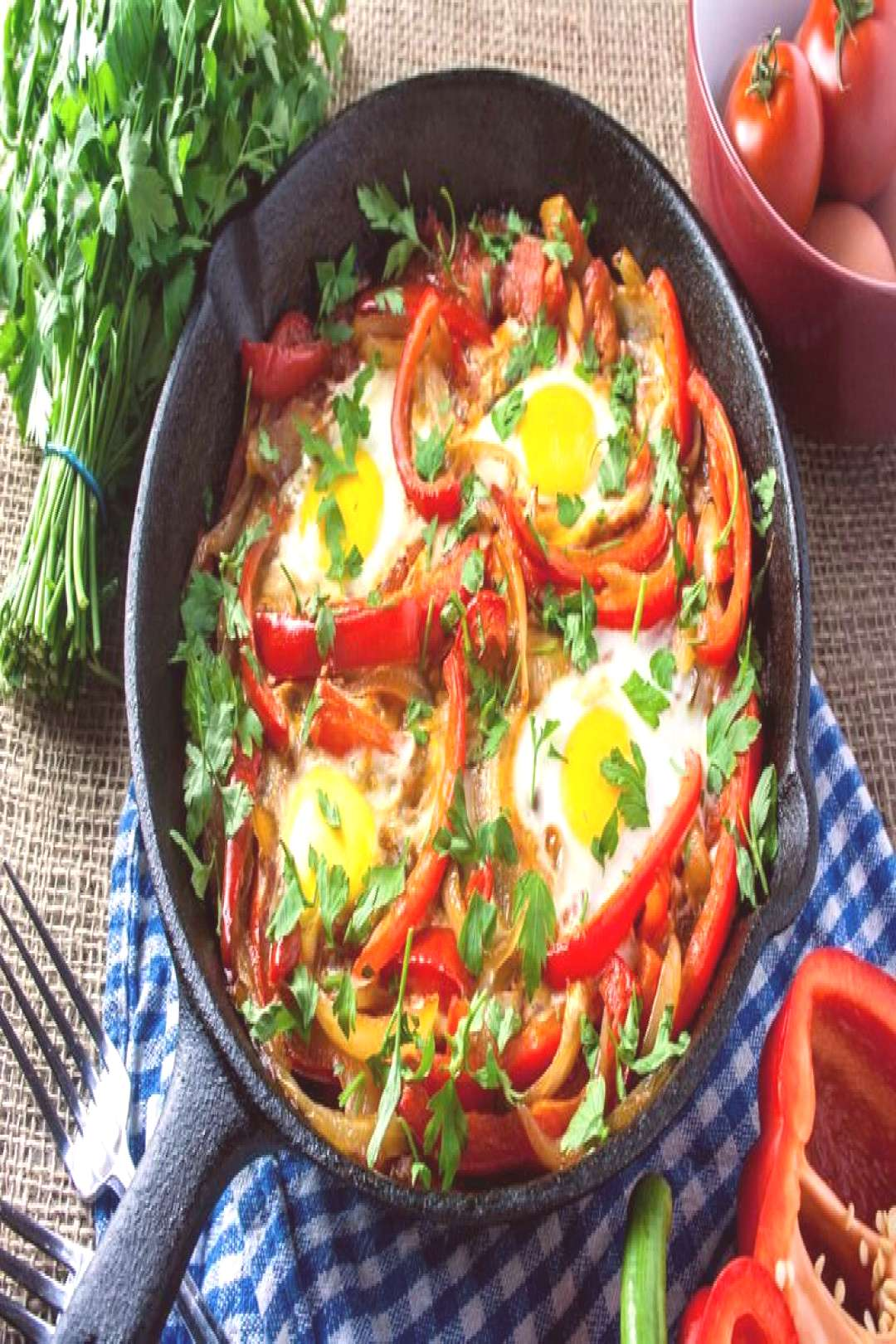 Baked Eggs Skillet With Red Peppers And Onions » The Candida Diet Baked Eggs Skillet With Red Pepp