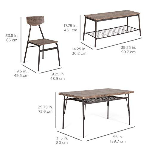 Best Choice Products 6-Piece 55in Wooden Modern Dining Set