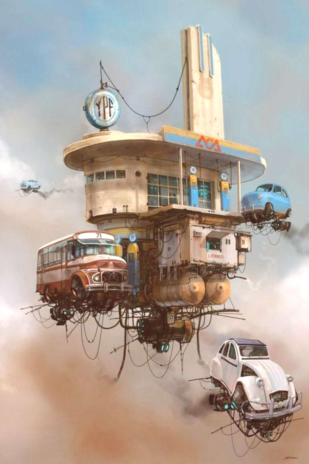 Concept Art Writing Prompt The Aerial Gas Station and Churro Stand. Dieselpunk, baby! Retro futu