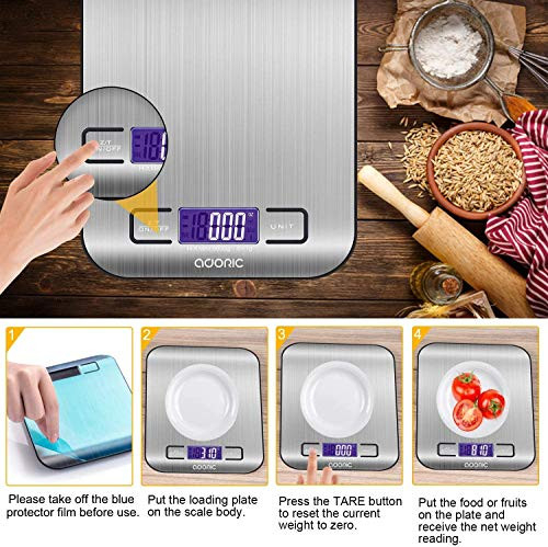 Digital Kitchen Scale Food Scale, 11 lb/5 kg Stainless Steel