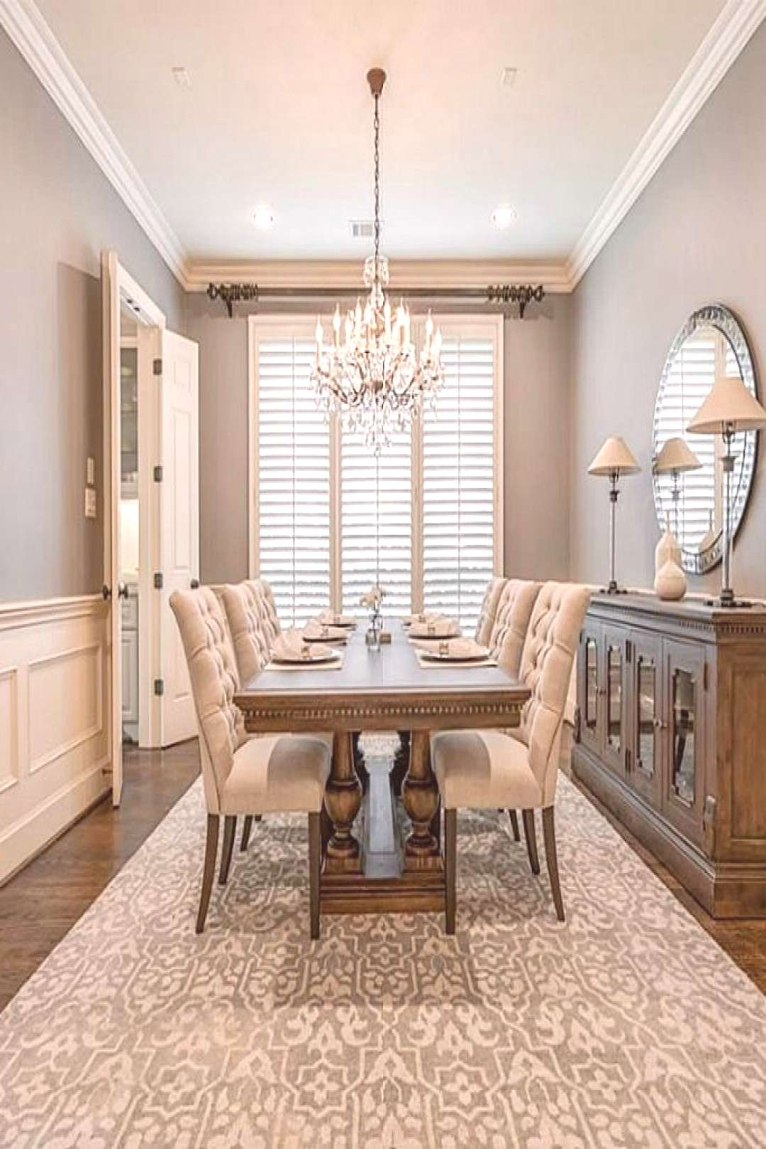 Dining room painted Sherwin Williams Dovetail with Sherwin Williams Antique White trim and ceiling