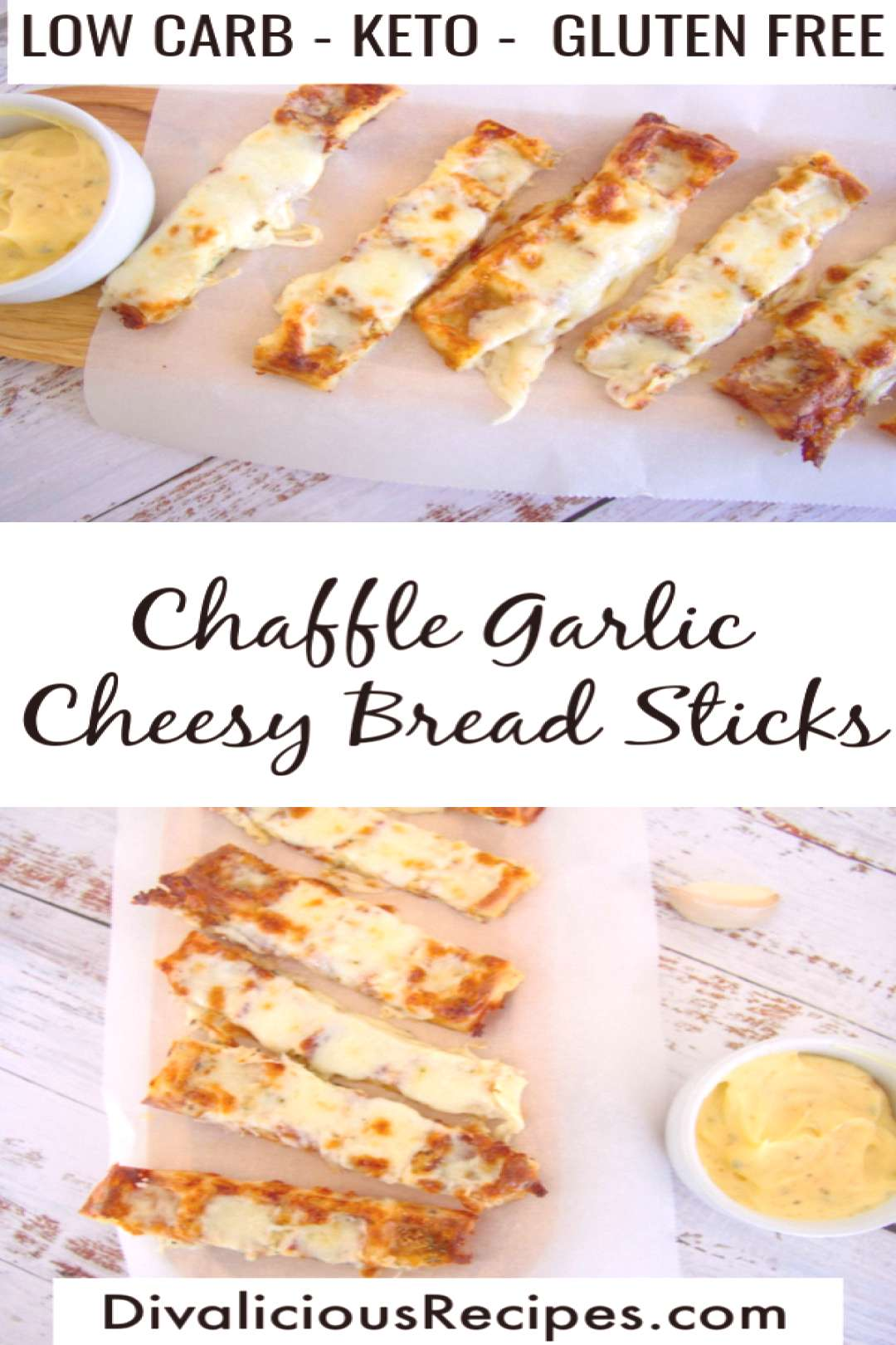 Easy keto chaffle garlic cheesy bread sticks are a quick and easy appetizer or snack. Ready in unde