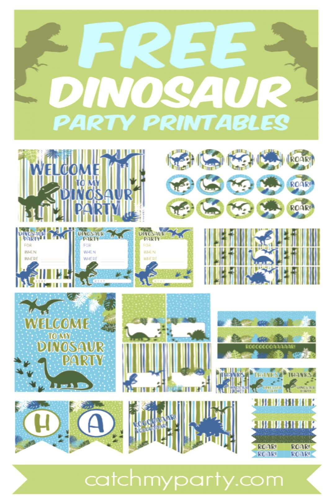 Im so excited to share this cute set of FREE Dinosaur Birthday Party Printables with you this we