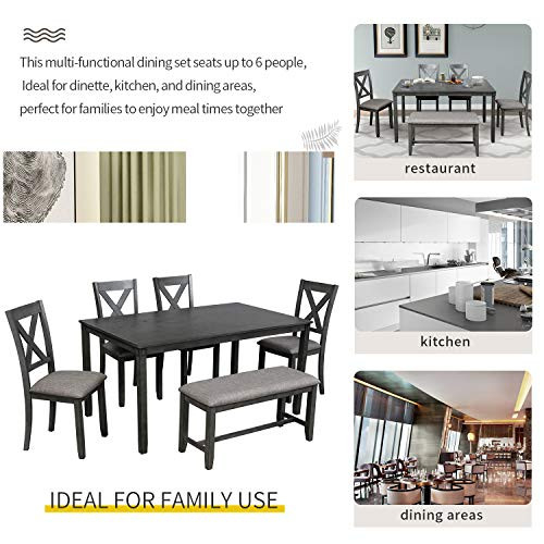 LUMISOL 6 Piece Dining Room Table Set with Bench, Wood