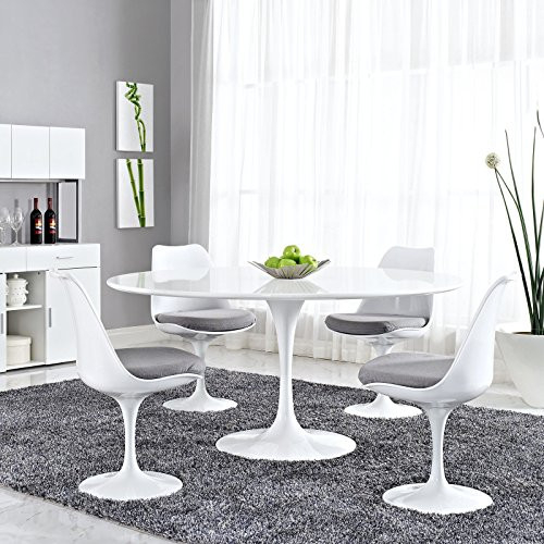Modway Lippa 60quot Mid-Century Modern Dining Table with Round