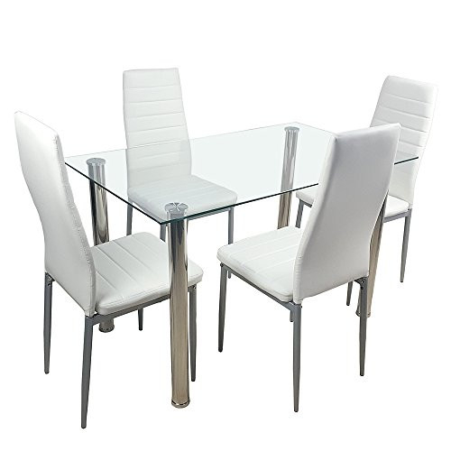 Ochine 5 Pieces Glass Dining Table Set with Chairs Modern