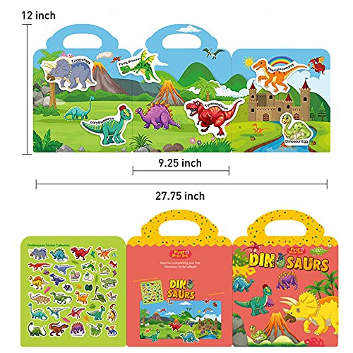 Reusable Sticker Book Dinosaur Stickers for Kids Ages 4-8