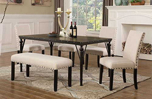 Roundhill Furniture Biony 6-Piece Wood Dining Set with