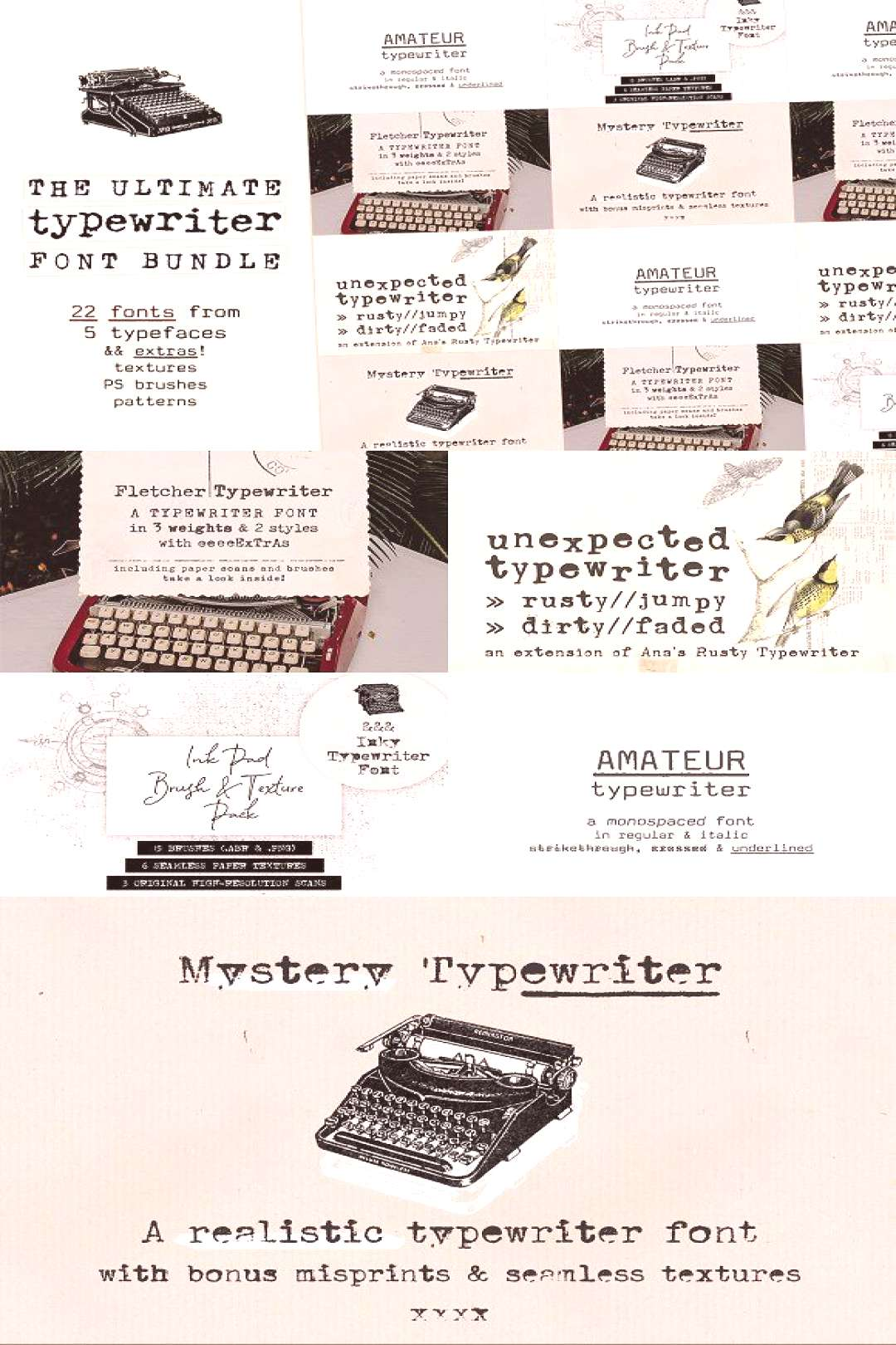 The Ultimate Typewriter Font Bundle by Anas Fonts on @creativemarket It includes all types of typ