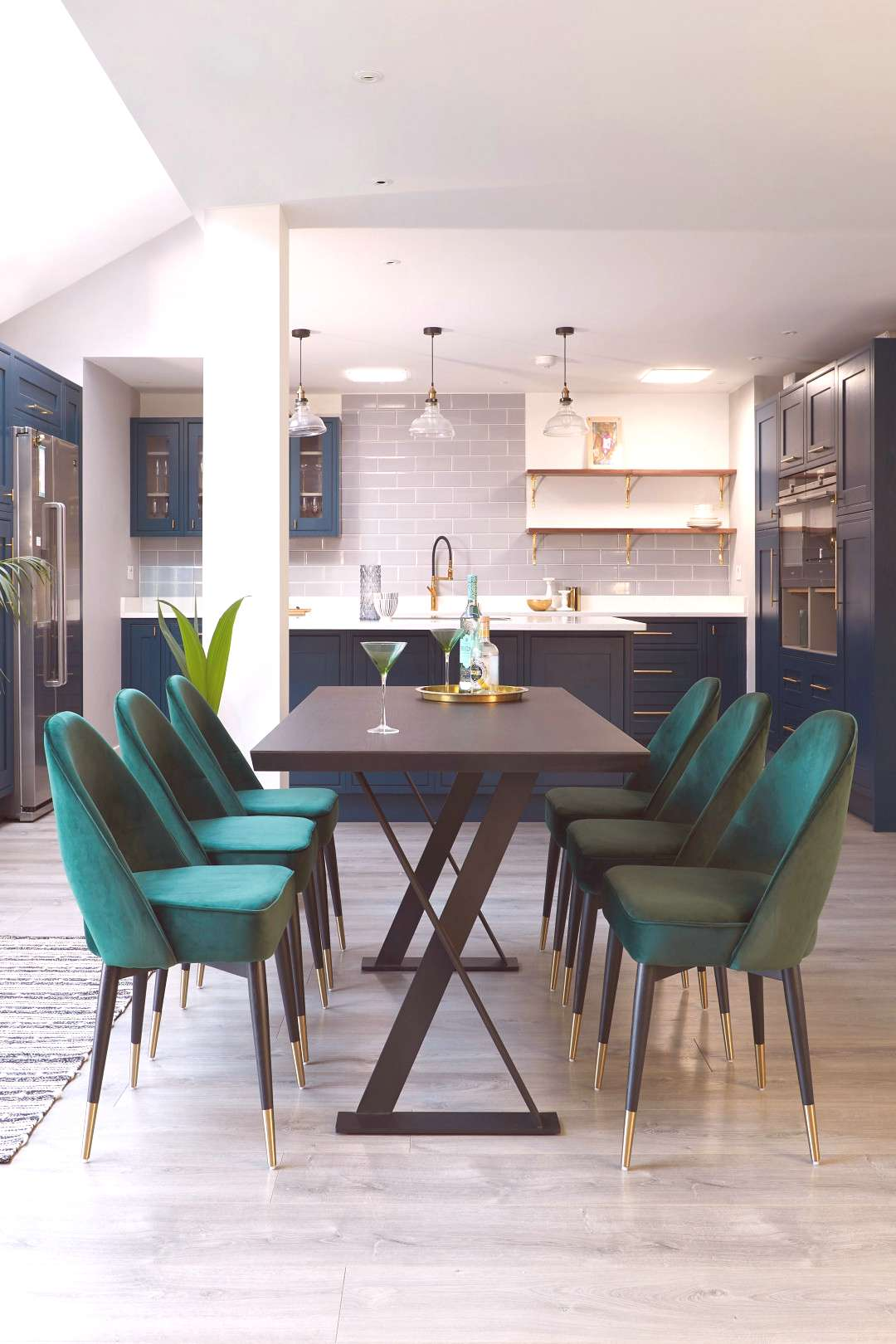 Velvet and Dark Oak Dining Set Add Drama to your home with our Clover Velvet Dining Chairs and Dark