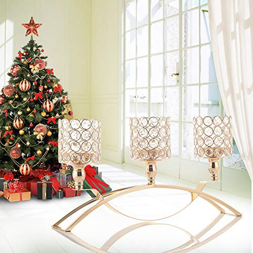 VINCIGANT Gold Crystal 3 Arms Candle Holders Centerpieces