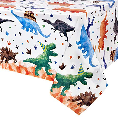 Watercolor Dinosaur Party Tablecloth - 1 Pack 54 x 108